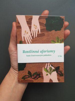 Set 12 pohlednic s rostlinnými aforismy, které pro Zahradu na niti ilustrovala Anna Vančurová